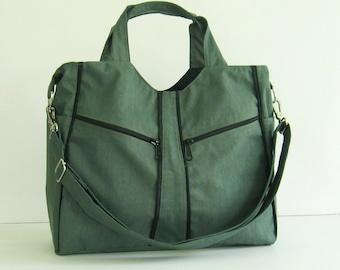 Sale - Water-Resistant Bag in Grey, diaper, messenger, crossbody, satchel, handbag, tote, gym bag, practical - LittleAlison