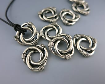 """Triple Knot Beads, Antique Pewter Connectors, 1/2"""" OD Spacer Bead with 4mm Hole, Choose 4 or more, Ready to Ship, Made in USA"""