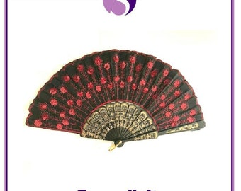 Red Spanish Style Dance Party Wedding Lace Silk Folding Hand Held Flower Fan