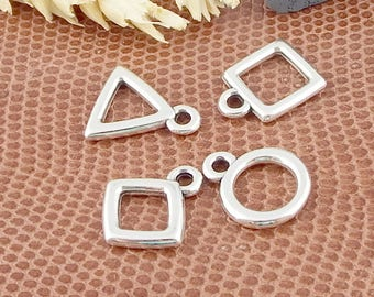 4 pendants 13mm silver plated geometric