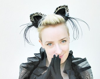 Black and White Cat Ears - Halloween Costume - Women's Hair Accessory - Kitty Cosplay - Kids or Adults - Clip In or Adjustable Headband