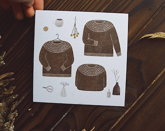 little sweater. postcard // cozy postcard /knitting postcard / square postcard