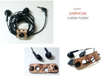 Leather earphone holder , Cord organizer, Earphone Cable organizer, headphone, earphone