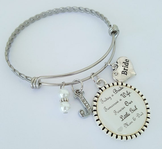 Bride Wedding Gift / Bride Bangle Bracelet / Personalized Bride Gift / Bride Gift from Parents / Bride Wedding Gift from Mom and Dad