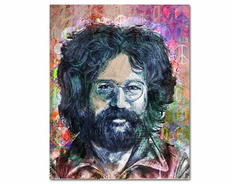 Jerry Garcia Art, Grateful Dead Canvas Art, Garcia Portrait, Hippie Decor, Pop Culture Pop Art, Hippie Art, Garcia Canvas, Deadhead Gifts