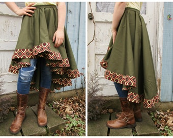 Southwestern Olive Green Hi Low Skirt// Medium// emmevielle