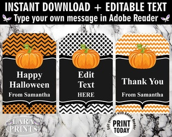 INSTANT DOWNLOAD / edit yourself now / Printable / Treat Bag toppers / Favor Tags / Birthday Party / Halloween / Fall / Pumpkin / tag / FTH1