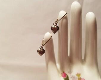 Silver .925 Heart Dangle Drop Earrings