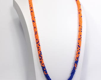 Beaded Rope Necklace - Orange and Blue