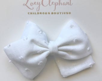 White Swiss Dot Bow, 4th of July Bow, Fabric Bow Hair Clip, Non Slip Clip, White Bow, Toddler Hair Clip, Girl Hair Clip, Baby Headband