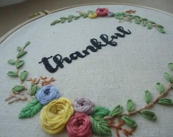 Handmade embroidery hoop art