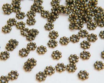 100 Beaded rondelle daisy spacer beads antique bronze 5mm PZN143-AB