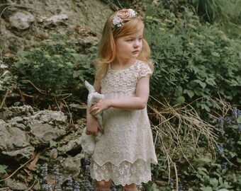 Vintage Inspired Girls Lace Embroidered Dress, Vintage Dress, Girls Vintage Dress, Girls Lace Dress, Lace Dress