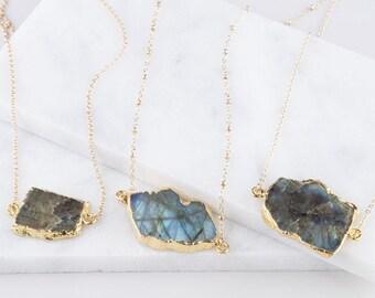 Gold Large Labradorite Gem Slice Long Necklace, Gold Gemstone Slice, Dainty Gemstone Necklace, Boho Necklace, Gem Slice Necklace,Labradorite