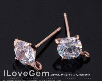 2pcs, NP-1145, Nickel Free Rose Gold plated, 6mm Cubic Earrings, Cubic Ear Stud, 925 sterling silver post, wedding earrings