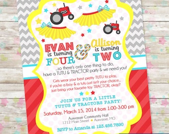 Tutus and Tractors Invite, Brother and Sister Birthday Idea, Joint Party, Split Party Invite, DIY Printable, Digital Invitation, Chevron