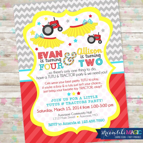 Items Similar To Tutus And Tractors Invite Brother And