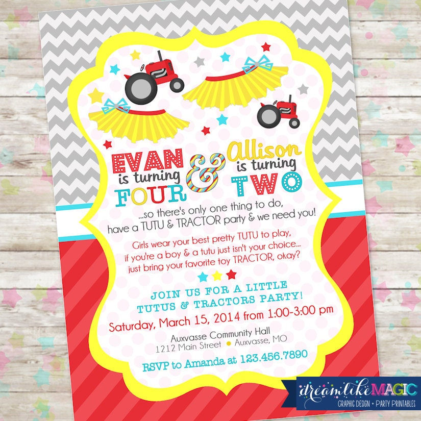 Tutus and tractors invite brother and sister birthday idea zoom stopboris Gallery