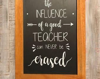 Painted slate teacher appreciation chalkboard