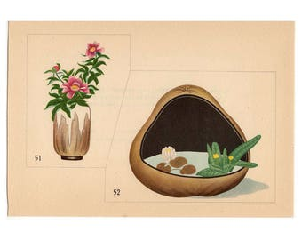 c. 1933 IKEBANA FLOWER ARRANGEMENT - Japanese botanical lithographs - original vintage botanical print