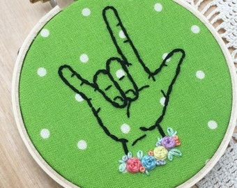 "Green Polka Dot ASL ""I love you"" Hoop, Sign Language Art, American Sign Language, Interpreter Gifts, Gifts For Interpreters, Embroidery Art"