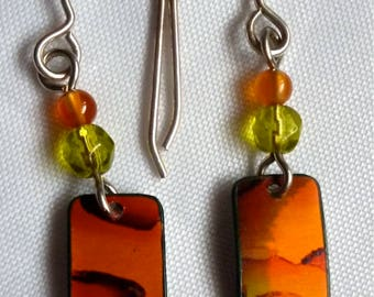 Small Handpainted Earrings with beads - Orange Green - Lightweight - Sterling Silver Earwires