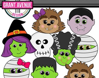 Halloween Clipart - Cute Halloween Faces Clip Art