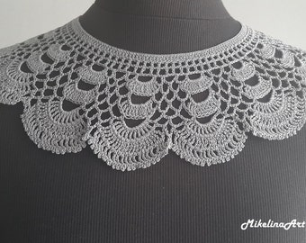 Handmade Crochet Collar, Neck Accessory, Sharkskin Gray Color, 100% Cotton