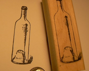 Glass bottle rubber stamp WM P22