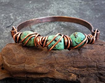 Turquoise copper bangle, Hammered copper, African Turquoise bracelet, Wire wrapped bracelet, Copper bracelet, Artisan bracelet
