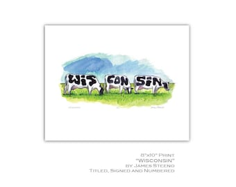 Wisconsin (Written in Cows) Watercolor Art Print by James Steeno