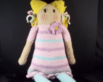 Old Fashioned Rag Doll Style Crocheted Doll  - Pink/Lavender - FREE SHIPPING