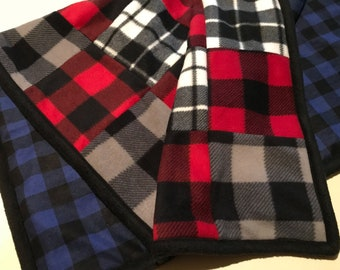 Plaid baby blanket/baby playmat/shoulder blanket/ lap blanket in red black and blue