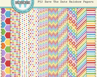 Digital Scrapbook Rainbow Papers