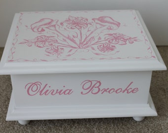 Baby Keepsake Box Pink Lillies Toile Personalized Baby Memory Box baby girl shower gift hand painted