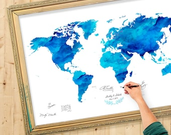 Color world map etsy wedding guest book watercolor world map custom color add quote date wedding gumiabroncs Gallery