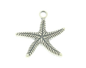 Handmade Oxidized 925 Sterling Silver Sea Star Charm Pendant, Charm, Connector,Pretty Dangle Charm, Pendant,  Dangle Charm - 1 pc