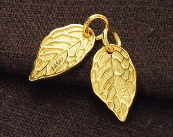 2 of 925 Sterling Silver 24k Gold Vermeil Style Leaf Charms 8x14 mm. :vm0581
