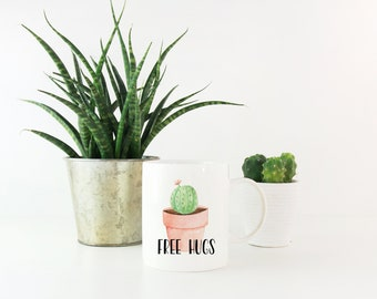 Free Hugs Cactus Mug - Funny Cactus Mug - Pun Mug - Plant Lover Mug - Plant Lover Gift - Funny Mug - Cactus Gift Ideas - Cactus Gift Mug