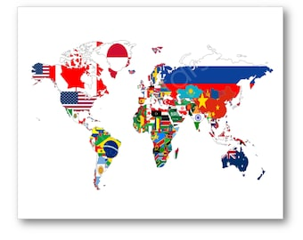 Flags of the World Map Poster, World Map Flags, Flag Map Art, Flag Wall Art, Country Flag Art, Flags of each Nation, World Map Flags Canvas