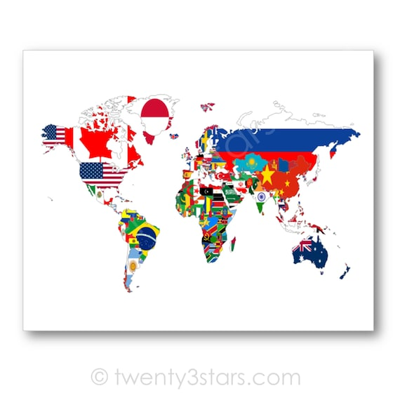 Flags of the world map poster world map flags flag map art like this item gumiabroncs Gallery