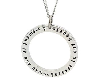 Coorabell Crafts Memorial Silver circle pendant Inscribed message for memorial and Grieving gift