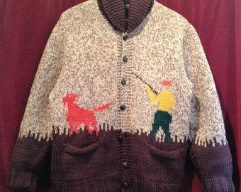 1950'S Rare Vintage COWICHAN  SWEATER Jacket / With A Rayon reversable Jacket inside.
