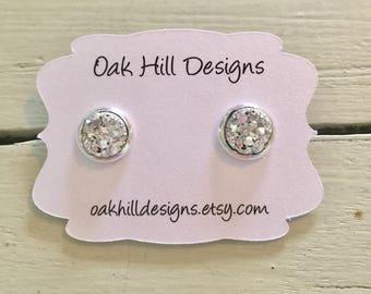 8mm silver stud earrings-small stud earring-silver druzy earrings-small druzy earrings-small drusy earring-stud drusy earring
