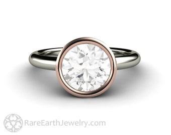 Moissanite Bezel Solitaire 2ct Moissanite Engagement Ring Forever One 14K or 18K Gold Rose Gold Conflict Free Custom Engagement