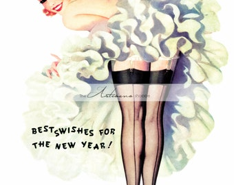 Happy New Year Can-Can Dancer Woman - Digital Download Printable - Altered Art Paper Crafts Scrapbooking - New Year's Eve Cancan Paris