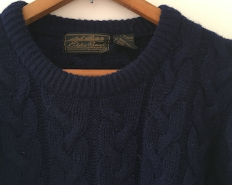 Vintage Eddie Bauer Cable Knit Wool Sweater Mens Medium
