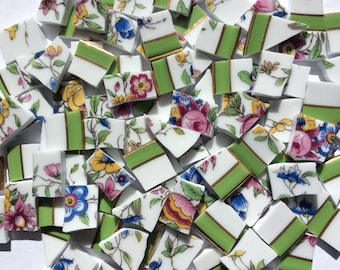 100 Green Pink Blue Yellow Hand Cut Vintage China Tiles//Broken Dish//Mosaic Supplies//Mosaic Pieces//Craft Jewelry