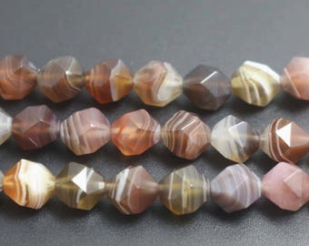 8mm 10mm Faceted Striped Agate Nugget beads, Natural Faceted Botswana Agate Beads, 15 inches per strand
