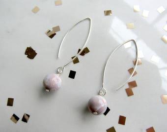Pink Opal Orb Earrings | Lea & Luna